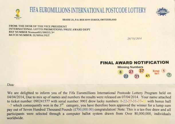 Fraud under the guise of the EuroMillions lottery