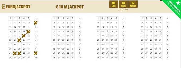 Eurojackpot europeisk lotteri (5 из 50 + 2 av 10)