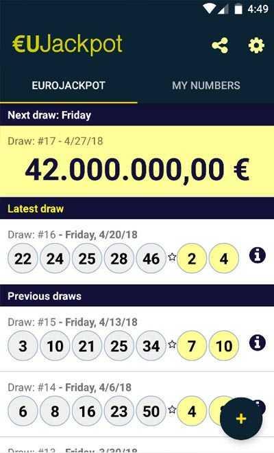 Loteria europeia Eurojackpot (5 из 50 + 2 do 10)
