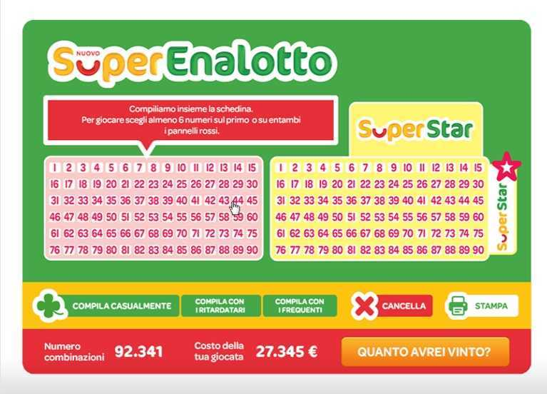 Superenalotto numbers and statistics | superenalotto results and jackpots