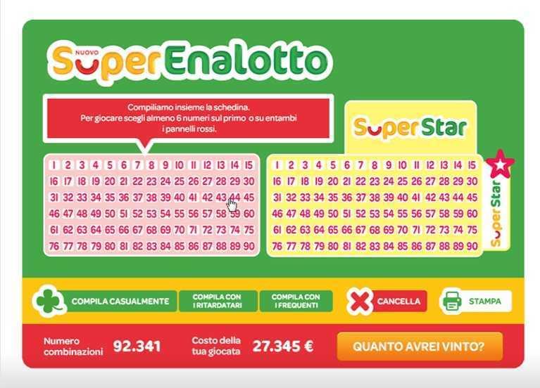 ตัวเลขและสถิติ Superenalotto | ผลการแข่งขันที่เหนือกว่าและรางวัลพิเศษ