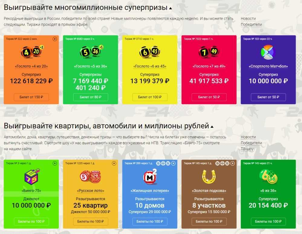 "Loterie ""Russian Lotto"". jak nakupovat a kontrolovat online?"